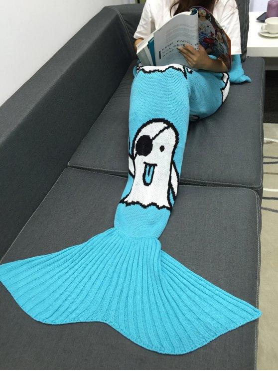 Halloween fantôme Multicolor Crochet Knitting Mermaid Style Tail Blanket - Azur