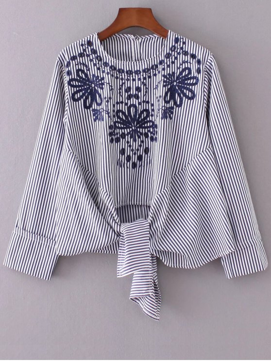 lady Striped Embroidered Blouse - STRIPE S