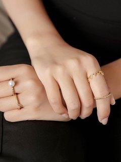 4 PCS Faux Pearl Chevron Rings - Golden