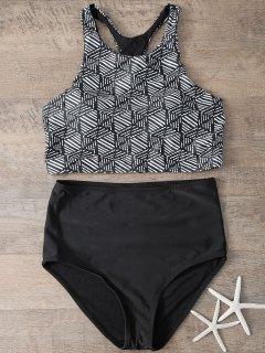 Imprimé Taille Haute Bikini Set - Noir S