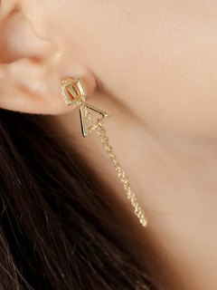Square Triangle Chain Pendant Earrings - Golden