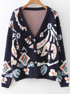Full Sleeve Jacquard Cardigan - Purplish Blue