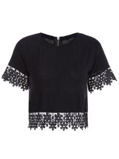 Crochet Flower Jewel Cou à Manches Courtes T-shirt - Noir Xl