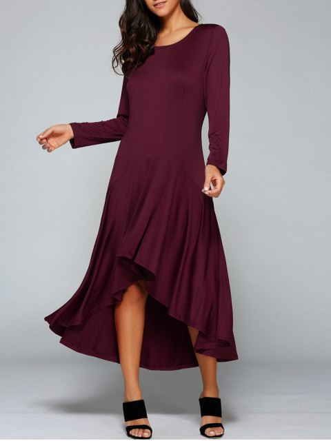 new High Low Long Sleeve Dress - WINE RED L Mobile