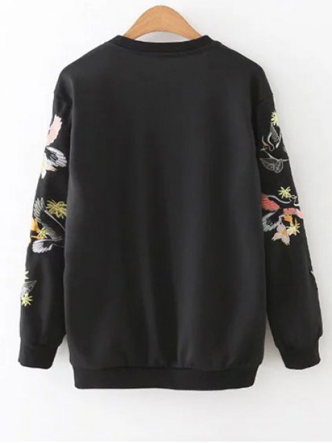 best Bird Embroidered Pullover Sweatshirt - BLACK S Mobile