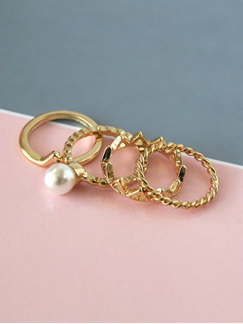 latest 4 PCS Faux Pearl Chevron Rings - GOLDEN  Mobile