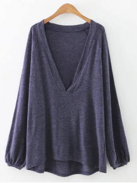 latest Plunging Neck Lantern Sleeve Tee - BLUE GRAY S Mobile