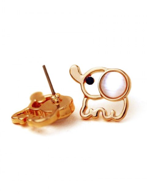 women's Small Elephant Stud Earrings - GOLDEN  Mobile