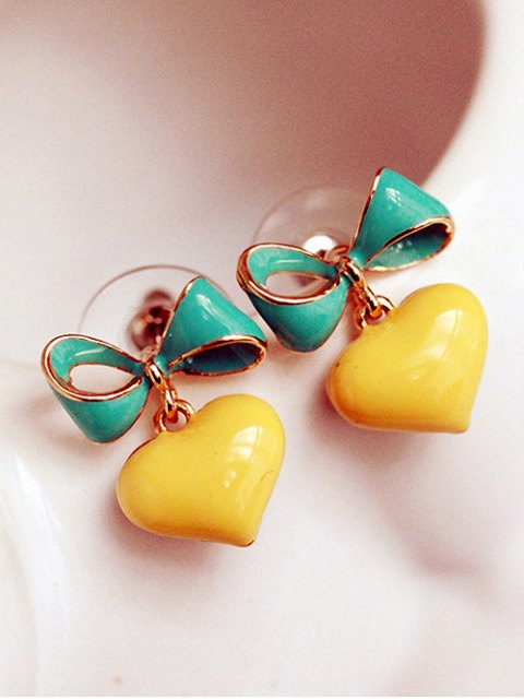 ladies Bowknot Heart Drop Earrings - YELLOW  Mobile