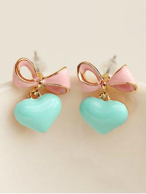 lady Bowknot Heart Drop Earrings - LIGHT GREEN  Mobile