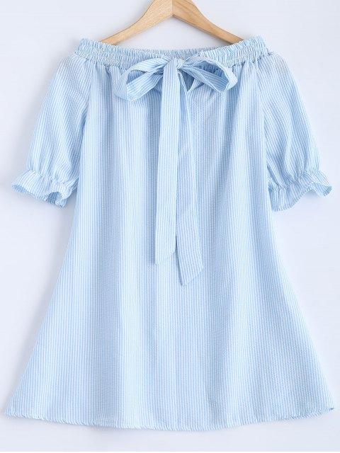 shop Bowknot Off Shoulder Striped Dress - LIGHT BLUE S Mobile