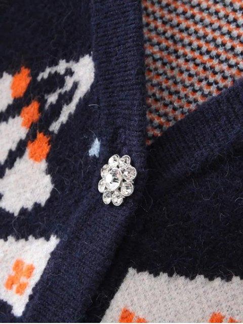 lady Full Sleeve Jacquard Cardigan - PURPLISH BLUE ONE SIZE Mobile