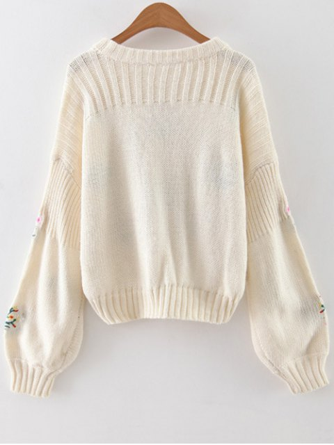 best Tiny Floral Embroidered Sweater - WHITE ONE SIZE Mobile