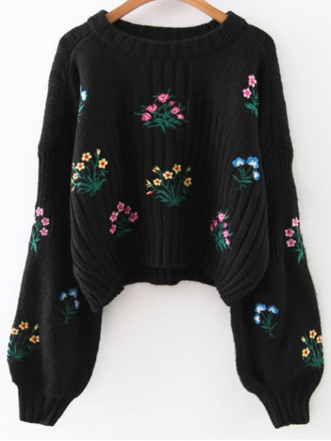 online Tiny Floral Embroidered Sweater - BLACK ONE SIZE Mobile
