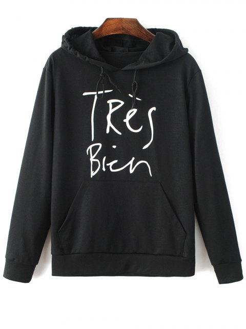 womens Letter Pattern Hoodie - BLACK XL Mobile