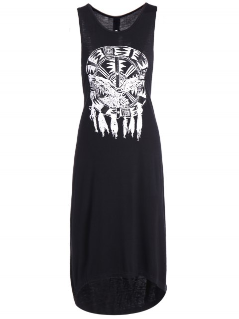 latest Printed Cutout High Low Hem Tank Dress - BLACK 2XL Mobile