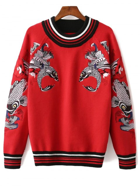 unique Fish Embroidered Sweater - RED ONE SIZE Mobile