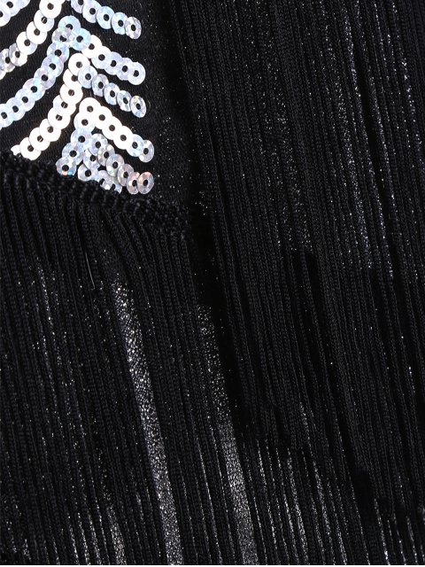 affordable Tassels Sequins Party Dress - SILVER ONE SIZE Mobile