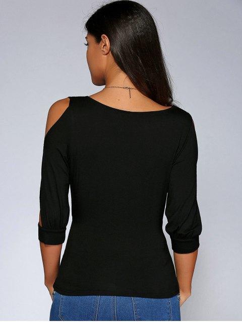 best Cold Shoulder V Neck Top - BLACK S Mobile