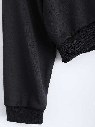 Letter Pattern Cropped Sweatshirt - BLACK M Mobile