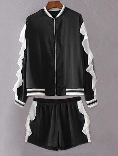 Flounced Stand Neck Jacket With Shorts - Black