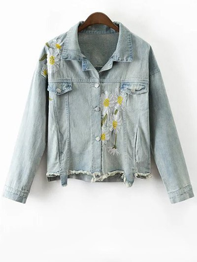 Daisy Embroidered Frayed Denim Jacket - Light Blue