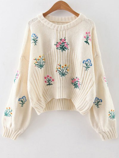 Tiny Floral Embroidered Sweater - White