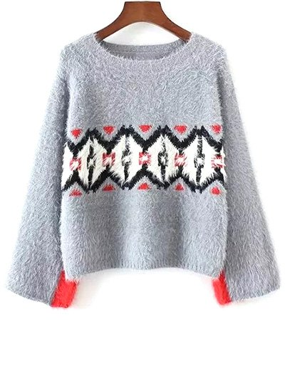 Color Block Jacquard Sweater - Gray