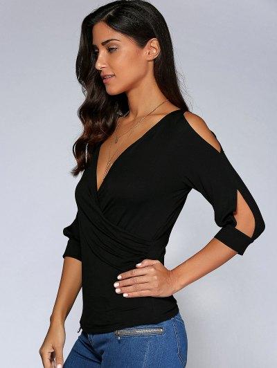 Cold Shoulder V Neck Top - BLACK L Mobile