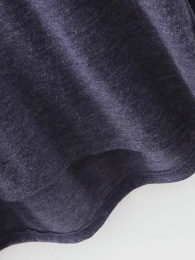 Plunging Neck Lantern Sleeve Tee - BLUE GRAY M Mobile