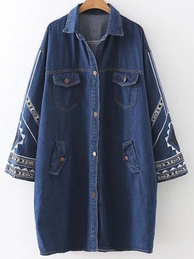 Embroidered Jean Coat - Denim Blue