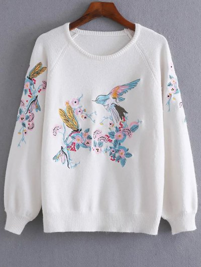 Bird Floral Embroidered Sweater - White