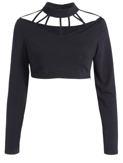 Long Sleeve Choker Crop Top - Black
