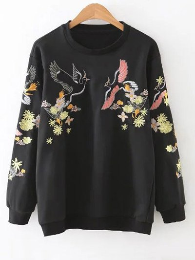 Bird Embroidered Pullover Sweatshirt - Black