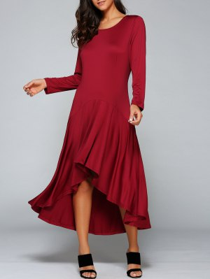 High Low Long Sleeve Dress - Wine Red