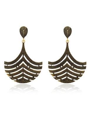 Filigree Half Teardrop Earrings - Copper Color