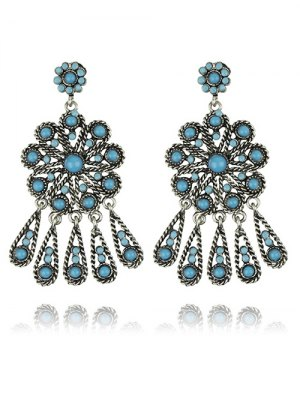 Faux Turquoise Flower Earrings - Turquoise