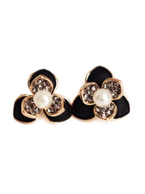 Fleur Faux Perle Rhinestrone Boucles D'oreilles - Noir