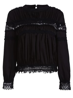 Lace Inset Chiffon Blouse - Black