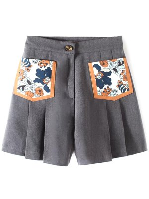 Pleated Pocket Patch Shorts - Gray