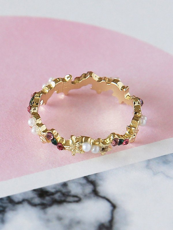 Faux Pearl Rhinestone Ring