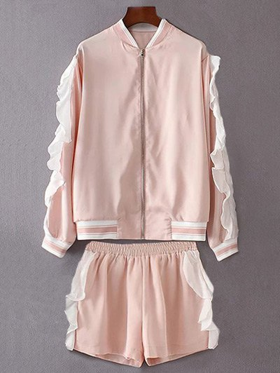 Flounced Jacket With Shorts Twinset