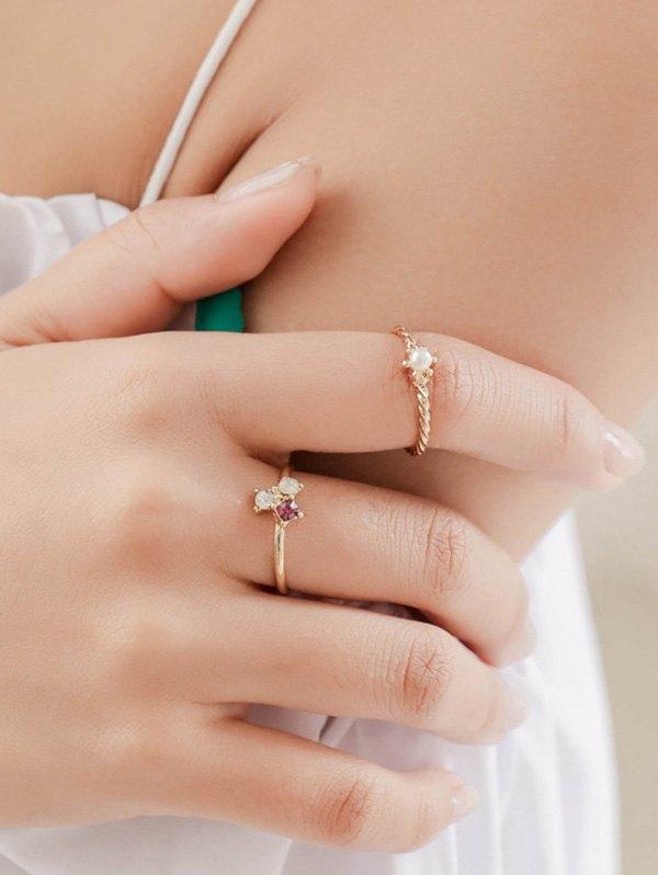 Rhinestone Faux Pearl Rings