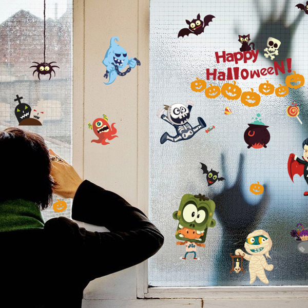 Removable Halloween Cartoon Room Decorative Wall StickerAccessories<br><br><br>Color: COLORFUL