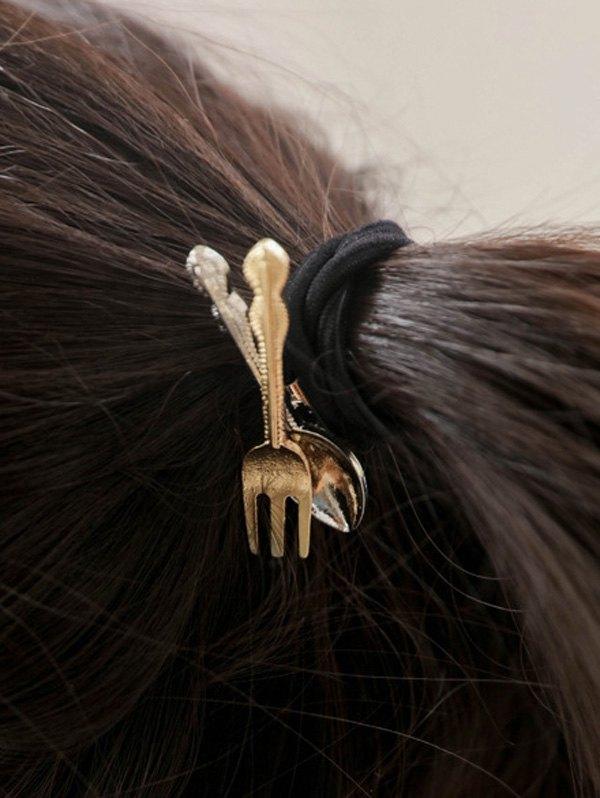 Spoon Fork Embellished Elastic Hair Band