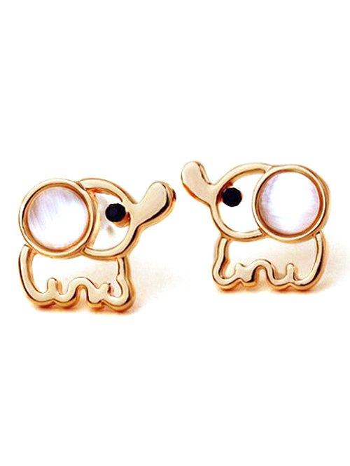 Fake Opal Small Elephant Stud Earrings