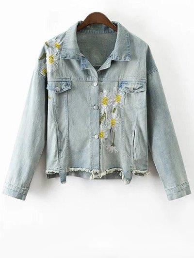 Daisy Embroidered Frayed Denim Jacket