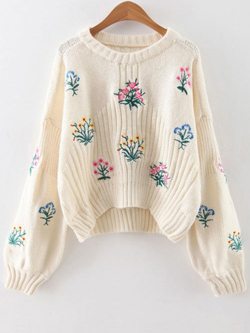 Drop Shoulder Sleeve Floral Embroidered Sweater