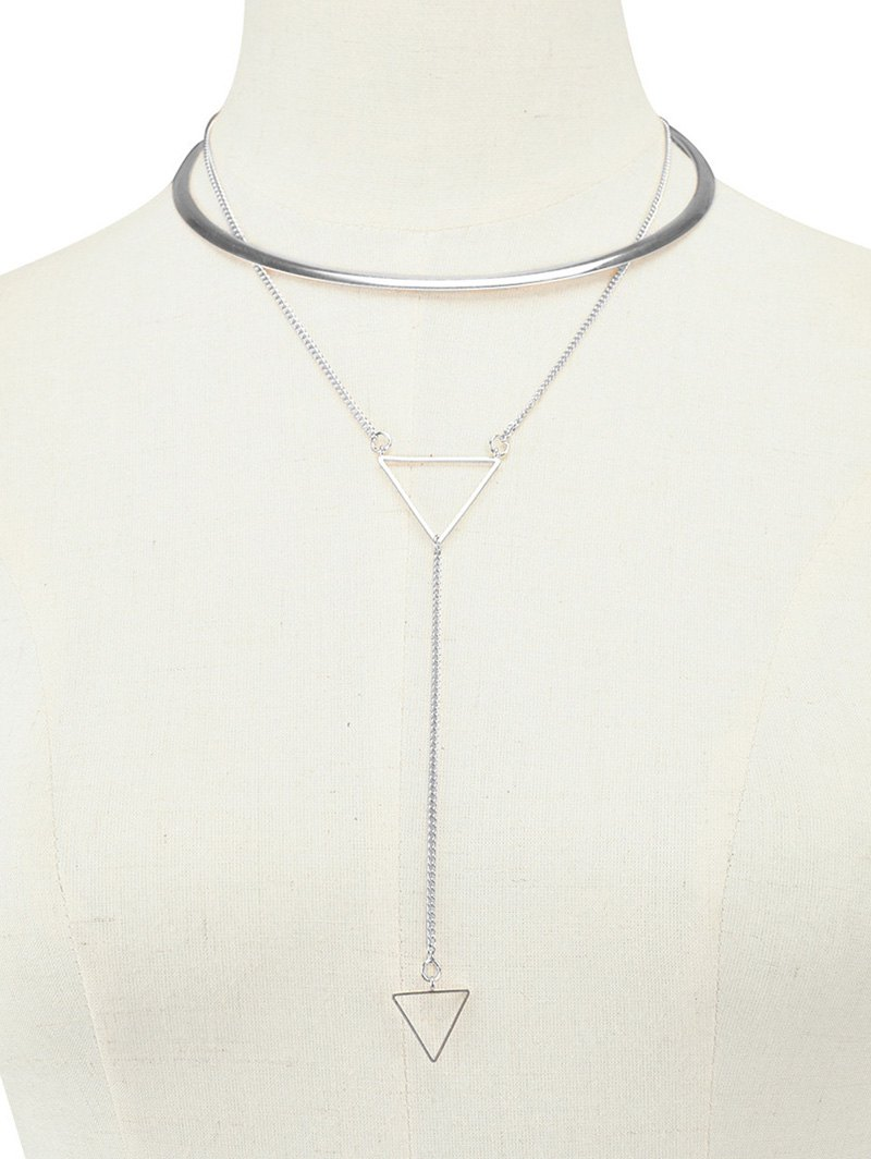 Vintage Layered Alloy Triangle Choker Necklace