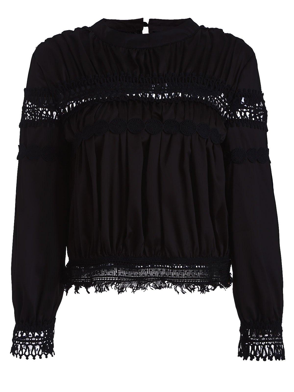 Lace Inset Chiffon BlouseClothes<br><br><br>Size: M<br>Color: BLACK